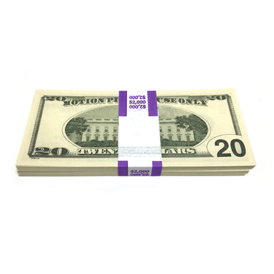 Money Prop - Series 2000 $20's Crisp New $2,000 Full Print Stack