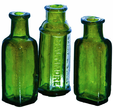 NewRuleFX Brand SMASHProps Breakaway Mini Poison Bottles Prop Set 3 Pieces - DARK GREEN translucent - Dark Green Translucent