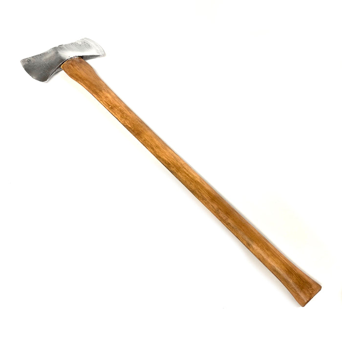 NewRuleFX Brand 35 Inch Dual Head Urethane Foam Rubber Axe Stunt Prop - SILVER - Silver Head with Lightwood Grain Handle