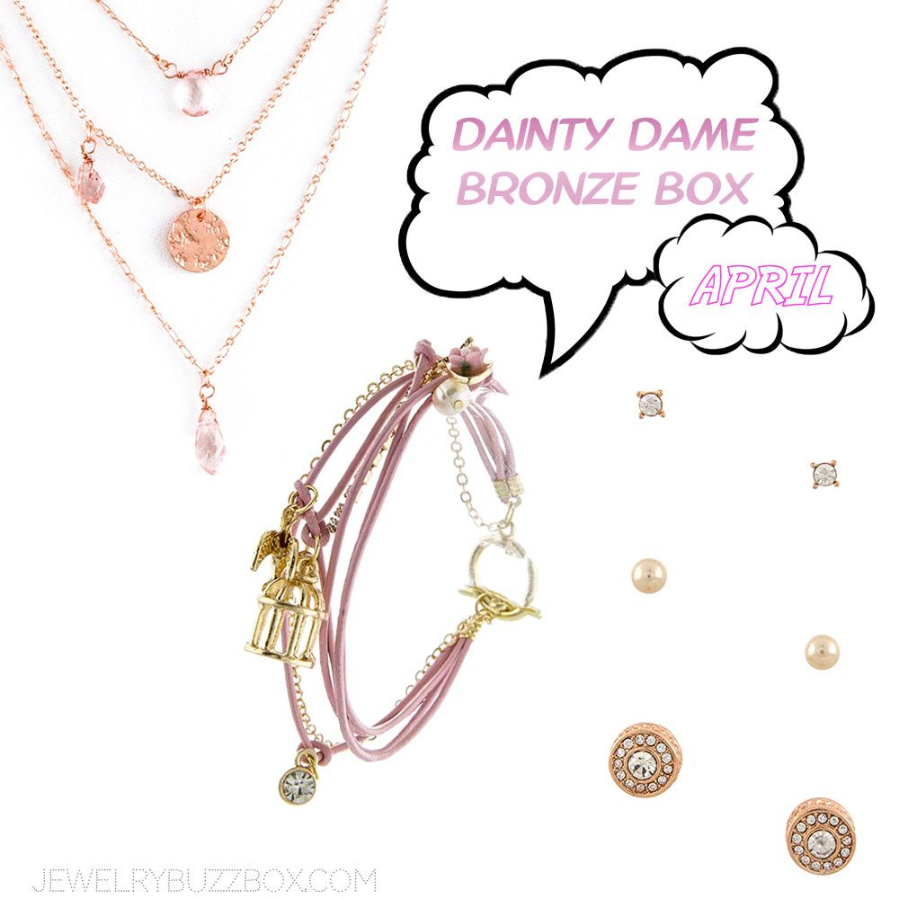 April Dainty Dame Bronze Box - Jewelry Buzz Box  - 1