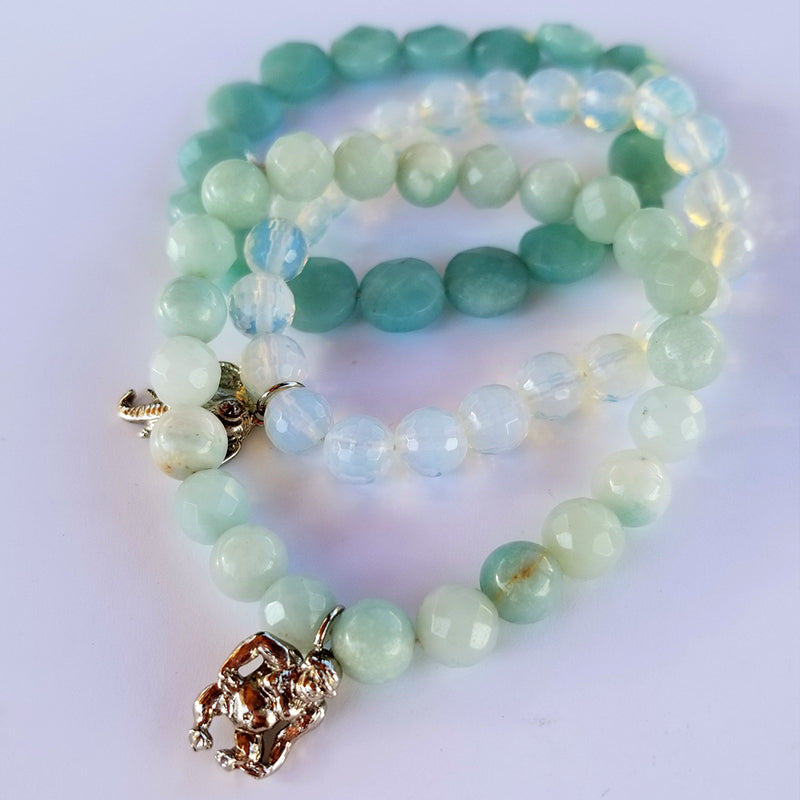 Genuine Amazonite & Moonstone Bracelet Set