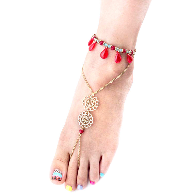 Teardrop Toe Ring Anklet - Jewelry Buzz Box  - 1