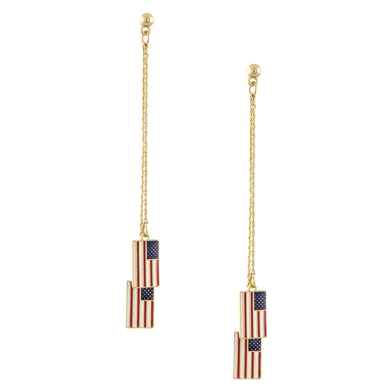 American Flag Drop Earrings - Jewelry Buzz Box  - 1