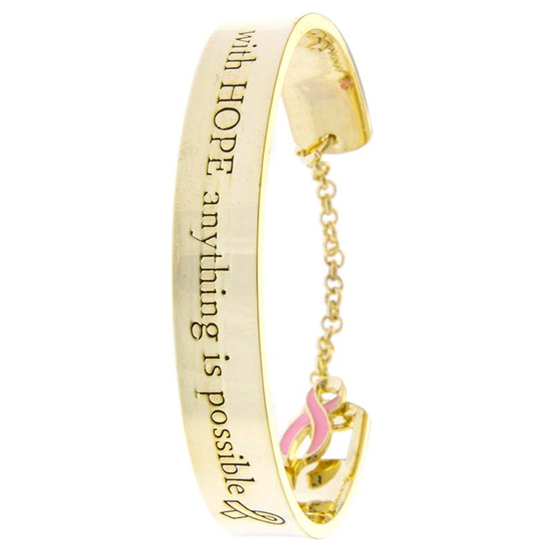 Breast Cancer Awareness Charm Bracelet - Jewelry Buzz Box  - 1