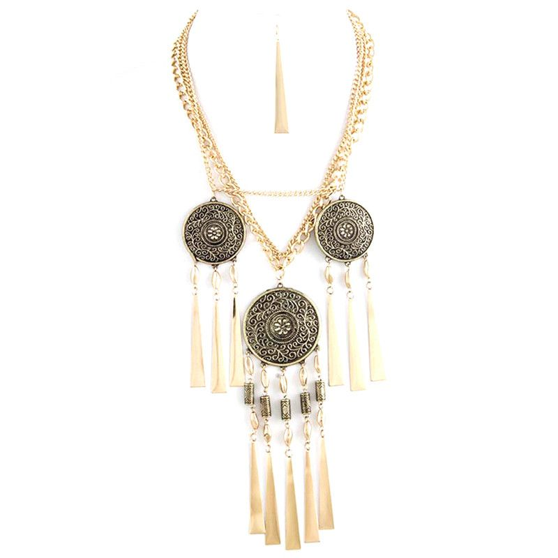 Bold Long Fringe Necklace Set - Jewelry Buzz Box