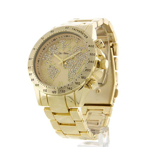 World Map Metallic Watch - Jewelry Buzz Box  - 1