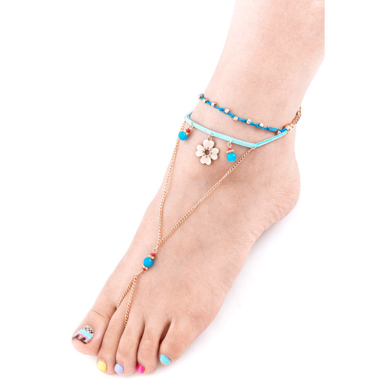 Fab Flower Toe Ring Anklet - Jewelry Buzz Box  - 1