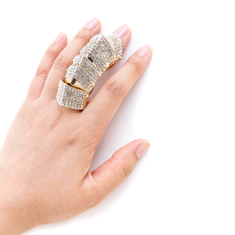 Fabulous Crystal Armor Finger Ring - Jewelry Buzz Box  - 3