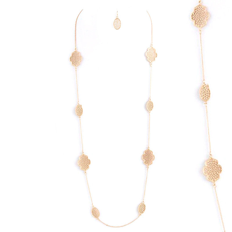 Lacey Necklace and Earring Set - Jewelry Buzz Box  - 1