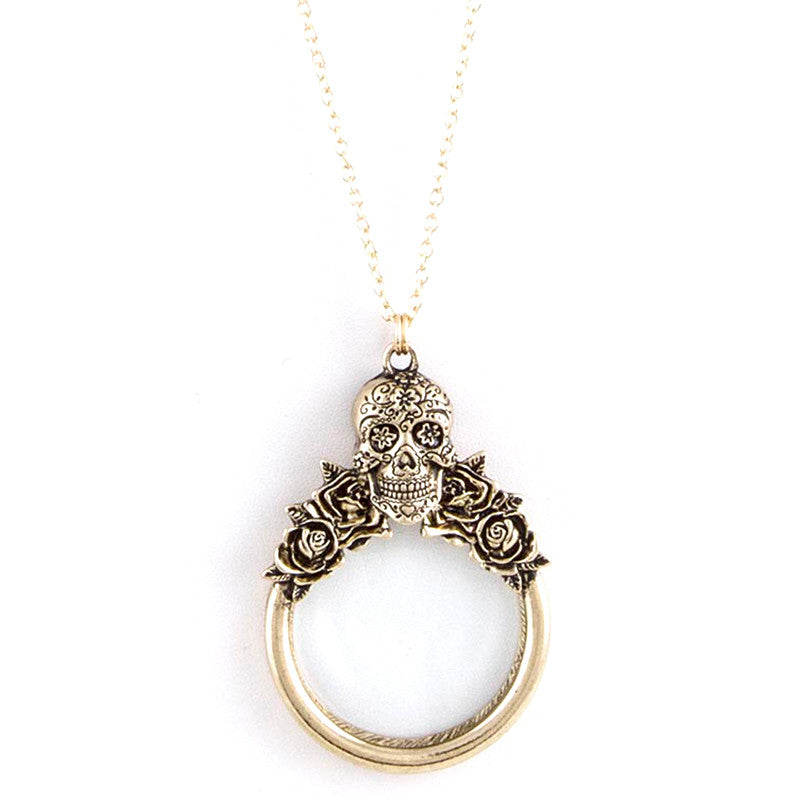 Magnifying Skull Necklace - Jewelry Buzz Box  - 1