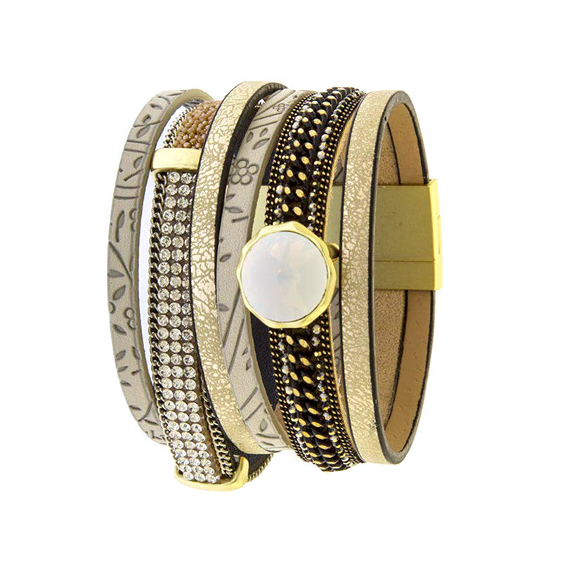 Fabulous Multi Layer Leather Bracelet - Jewelry Buzz Box  - 2