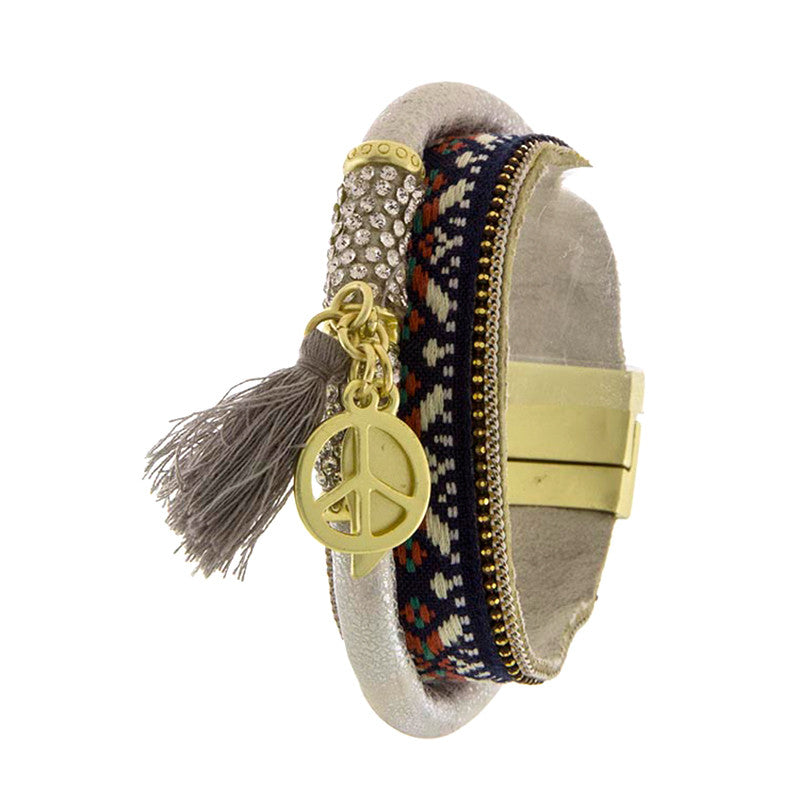 Groovy Peace Tassel Bracelet - Jewelry Buzz Box  - 1