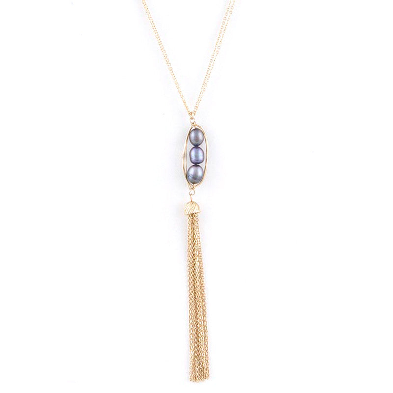 Freshwater Pearl Tassel Necklace - Jewelry Buzz Box  - 1