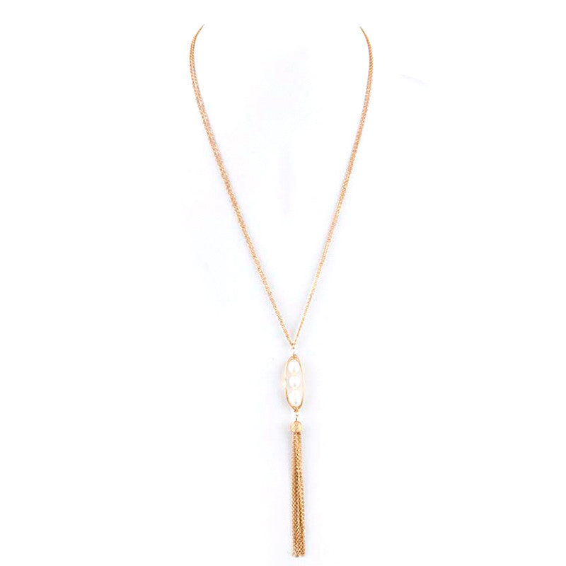 Freshwater Pearl Tassel Necklace - Jewelry Buzz Box  - 3