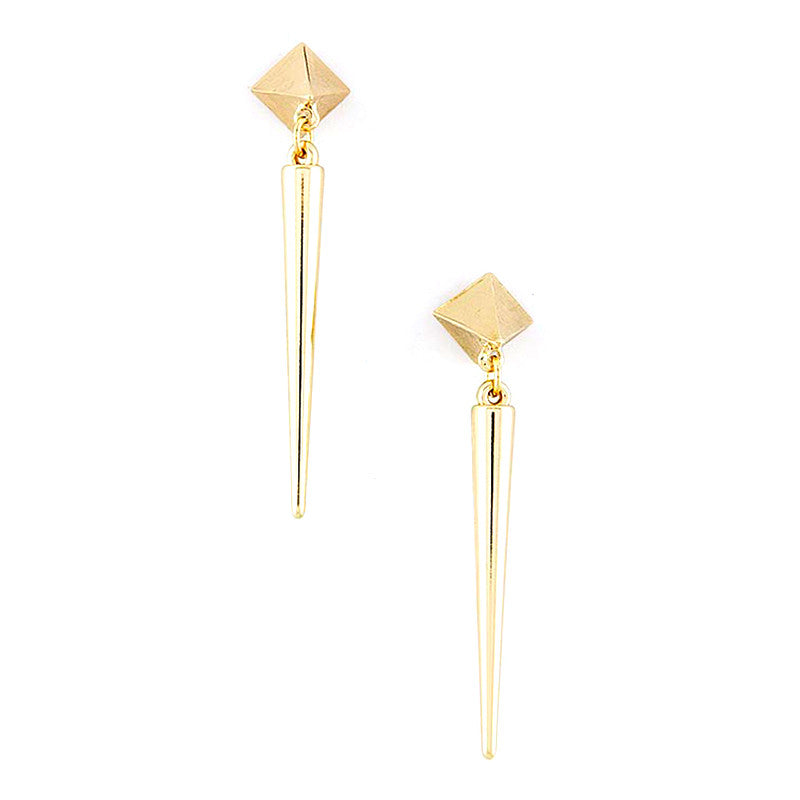 Pyramid Spike Drop Earrings - Jewelry Buzz Box  - 1