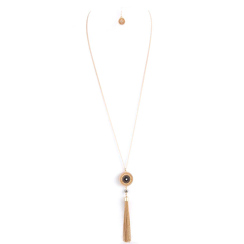Fabulous Tassel Drop Long Necklace Set - Jewelry Buzz Box  - 2