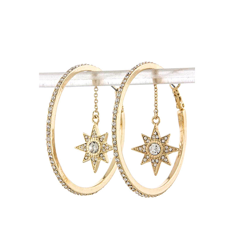 Star Drop Hoop Earrings - Jewelry Buzz Box  - 2