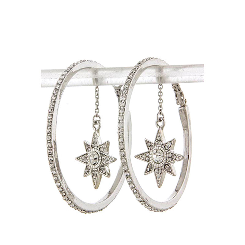 Star Drop Hoop Earrings - Jewelry Buzz Box  - 4