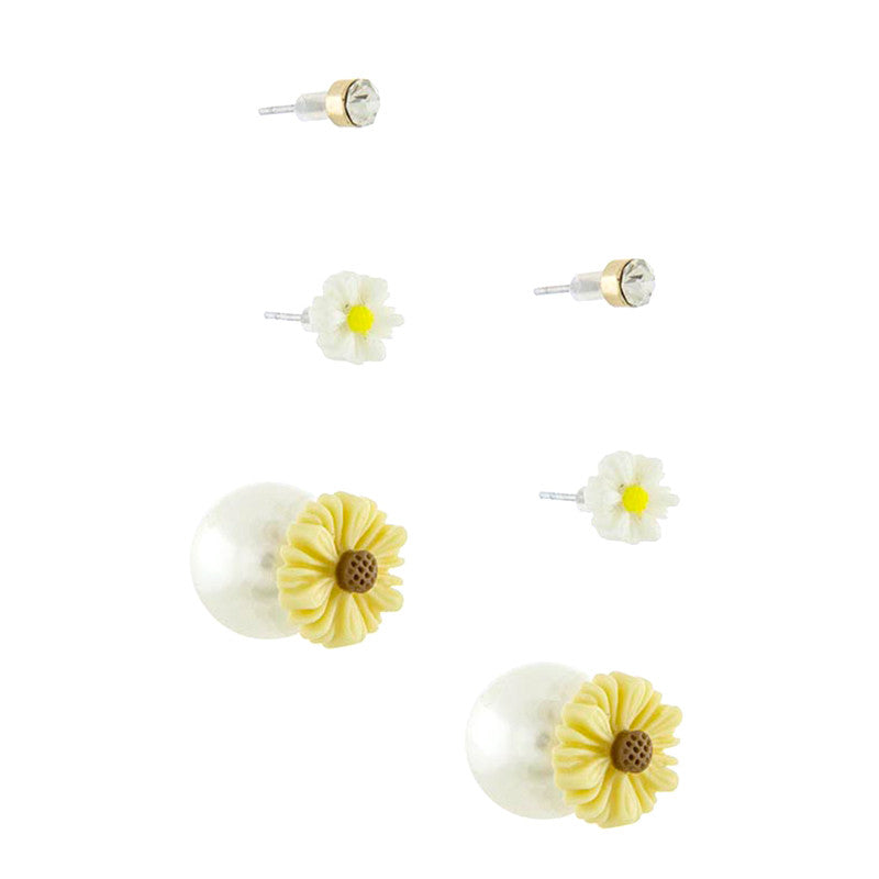 Floral Double Stud Earrings Set - Jewelry Buzz Box  - 2