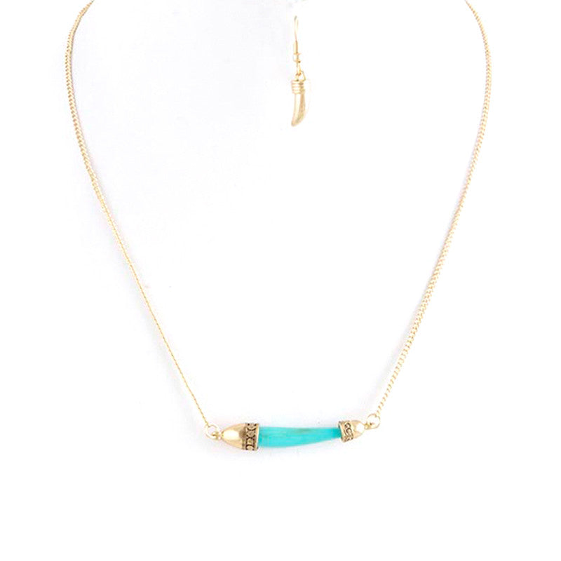 Horn Tusk Necklace Set - Jewelry Buzz Box  - 1