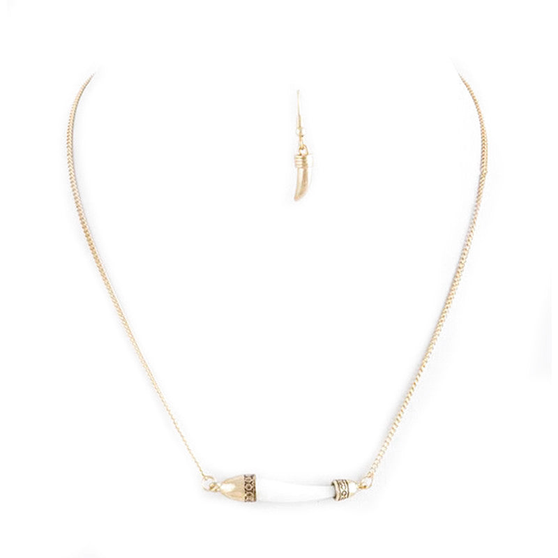 Horn Tusk Necklace Set - Jewelry Buzz Box  - 3