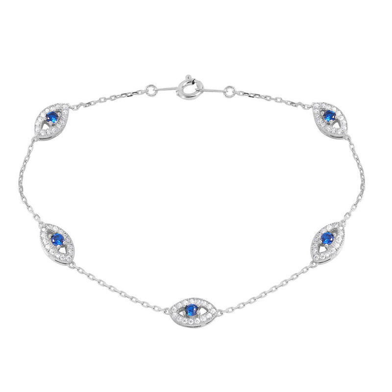 Evil Eye Bracelet Sterling Silver - Jewelry Buzz Box  - 1