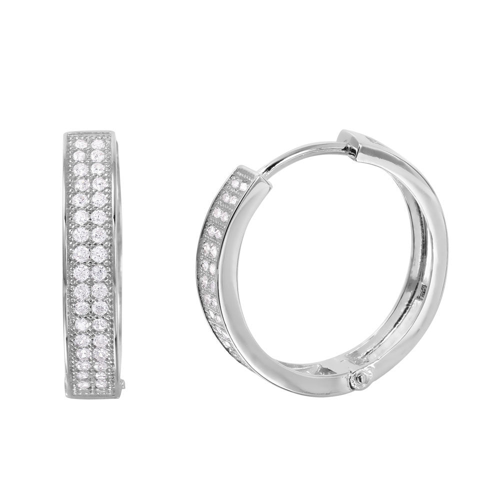 Glimmer Sterling Silver Hoop Earrings - Jewelry Buzz Box