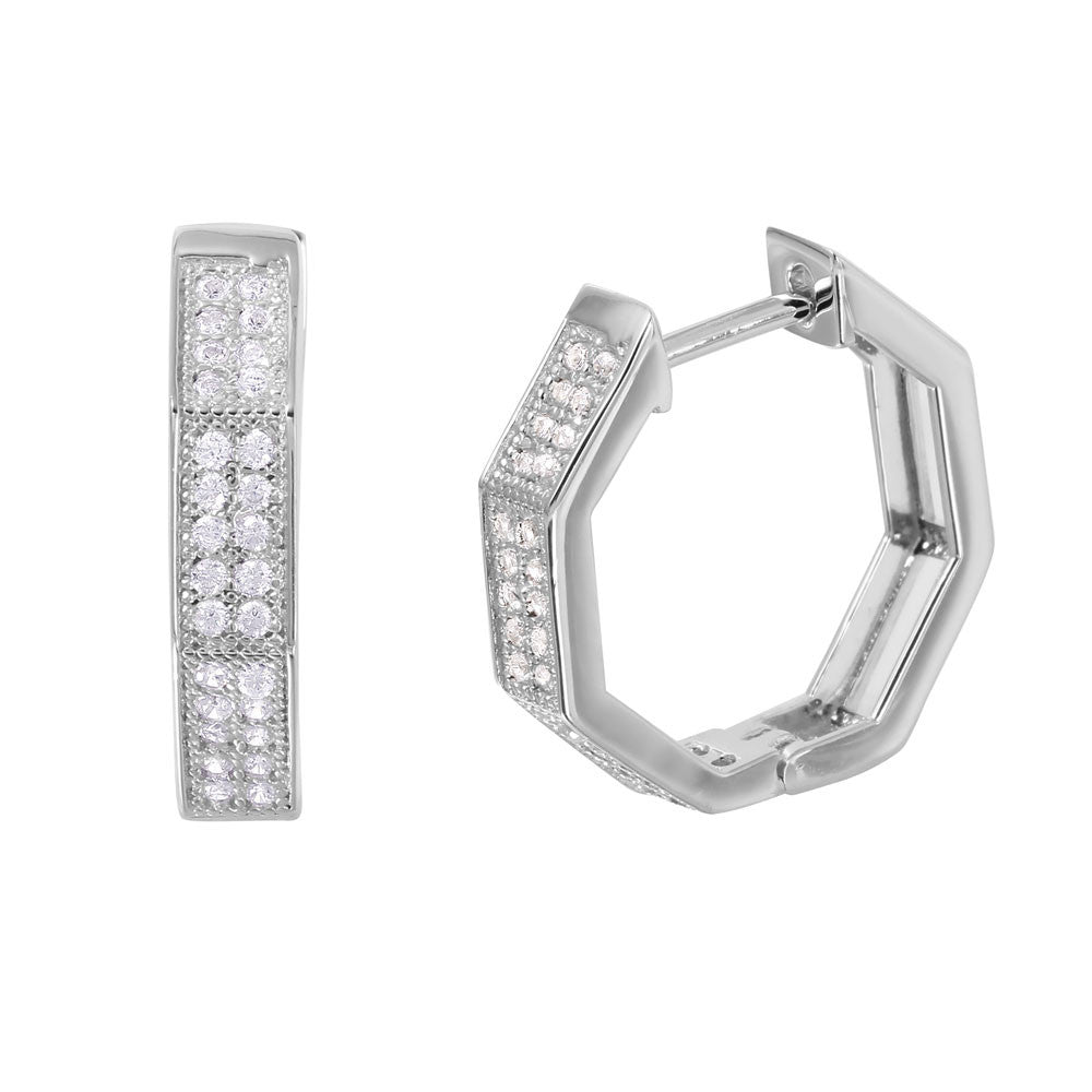 Hexagon Silver Hoop Earrings - Jewelry Buzz Box