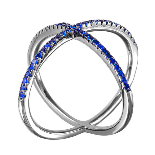 Deep Blue X Ring - Jewelry Buzz Box  - 2