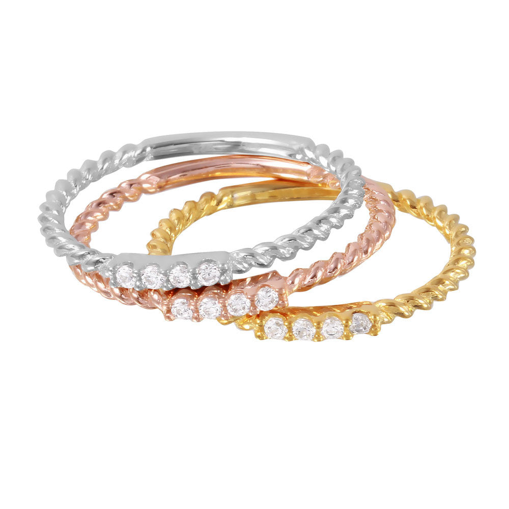 Twisted Stackable Band Set - Jewelry Buzz Box  - 2