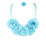 Fancy Fabric Flower Necklace Set - Jewelry Buzz Box
