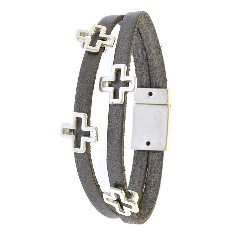 Layered Leather Cross Bracelet - Jewelry Buzz Box  - 1