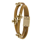 Layered Leather Cross Bracelet - Jewelry Buzz Box  - 2