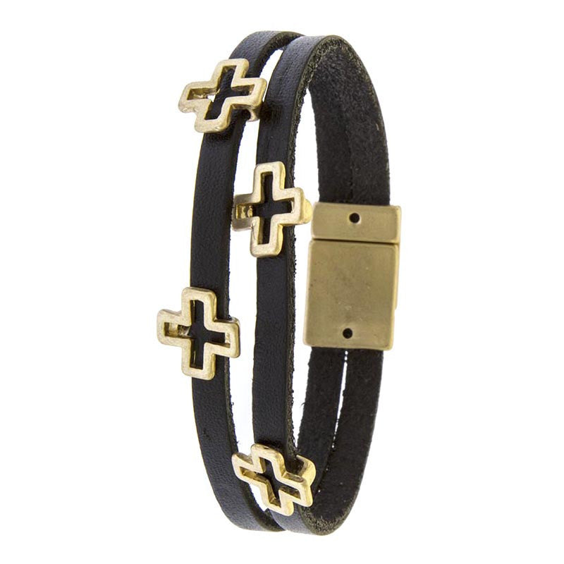 Layered Leather Cross Bracelet - Jewelry Buzz Box  - 3