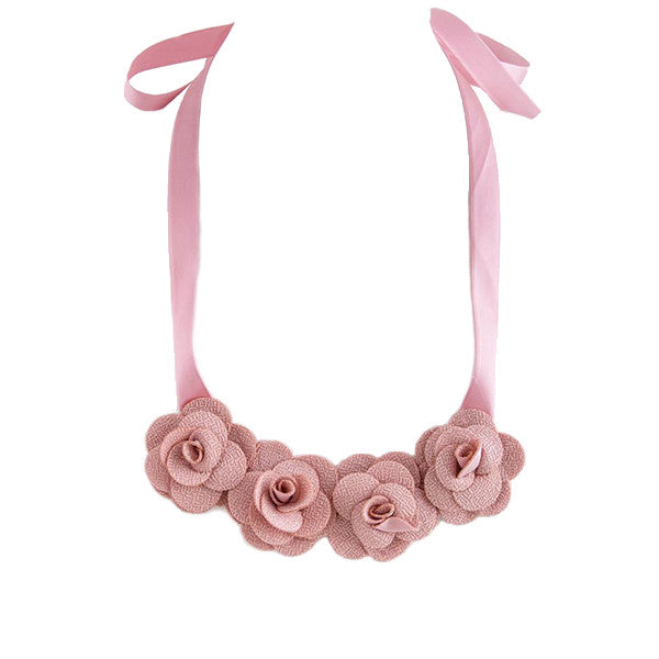 Fabric Rose Bib Necklace - Jewelry Buzz Box  - 1
