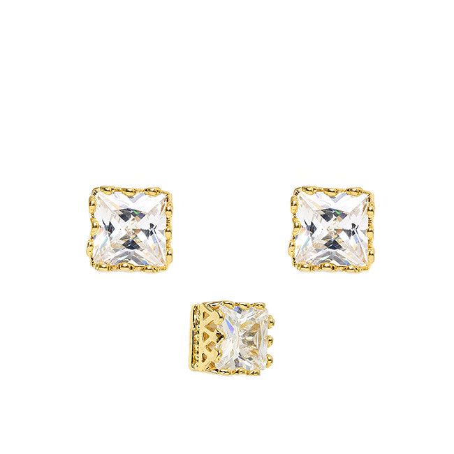 Pretty Princess Stud Earrings - Jewelry Buzz Box  - 1