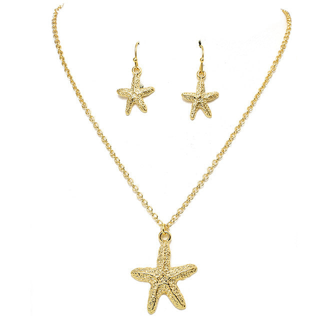 Polished Starfish Pendant Set - Jewelry Buzz Box  - 1