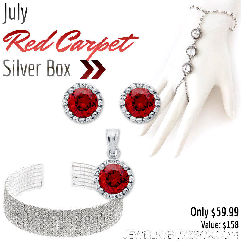 July Red Carpet Silver Box - Jewelry Buzz Box  - 1