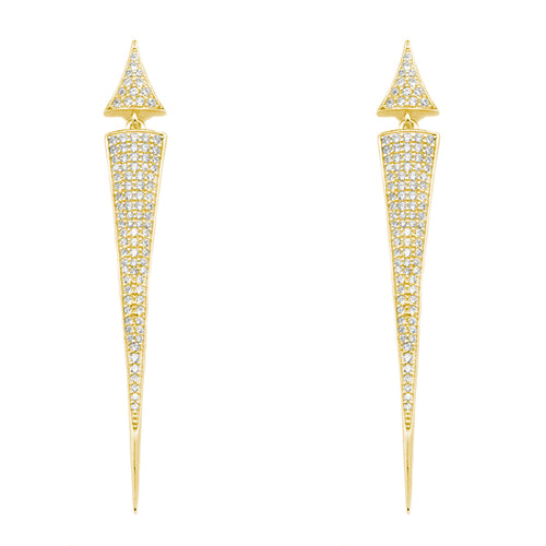 "Brilliant sterling silver pointed spike drop earrings adorned with the highest quality cubic zirconium in a micro pave setting.      2.5"" drop     Back post     .925 Sterling Silver     Choose between 3 heavy plated colors: 18k yellow gold, 18k rose gold or white rhodium for anti-tarnish  Each piece is under strict quality control and stamped with the sterling silver grade .925"