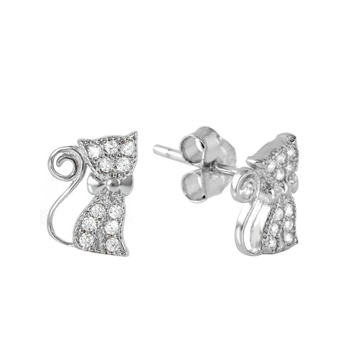 Kitty Kat Stud Earrings - Jewelry Buzz Box  - 2