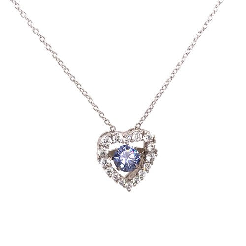 Tanzanite Inspired Dancing Heart Pendant Necklace