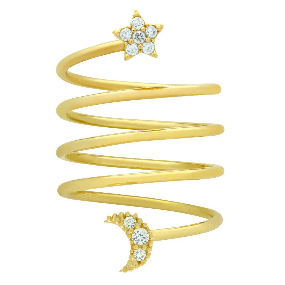 Star & Moon Spiral Ring - Jewelry Buzz Box  - 2