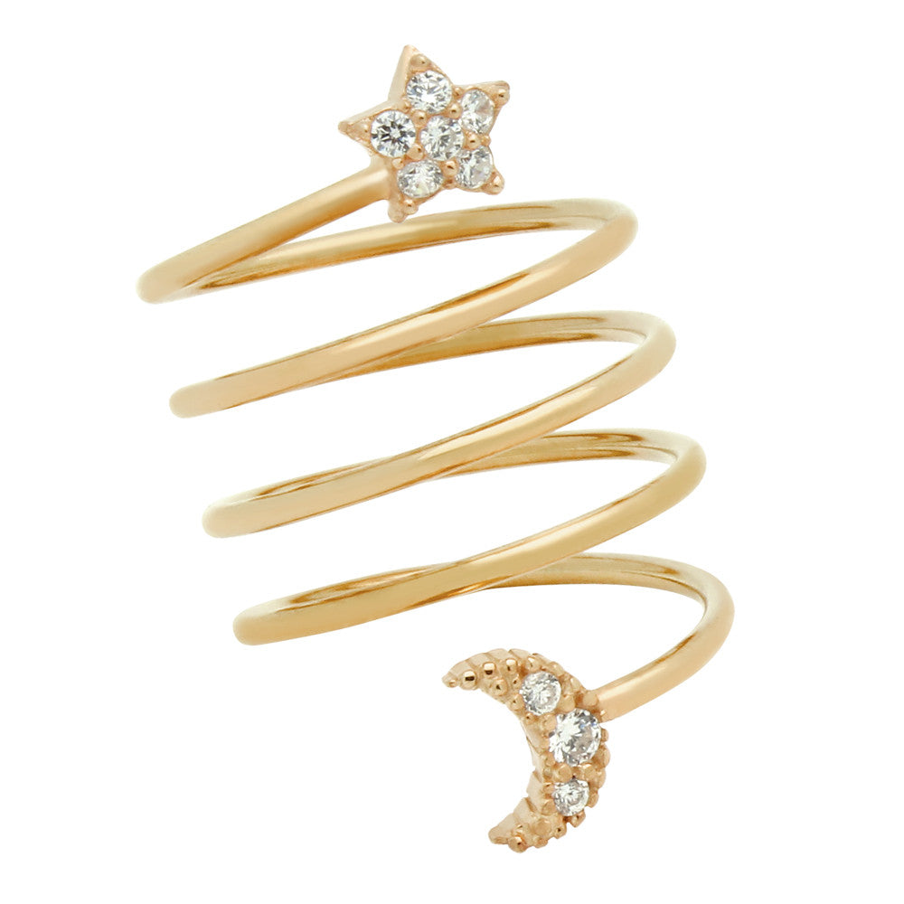 Star & Moon Spiral Ring - Jewelry Buzz Box  - 5
