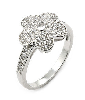 Pretty Pave Flower Ring - Jewelry Buzz Box  - 1