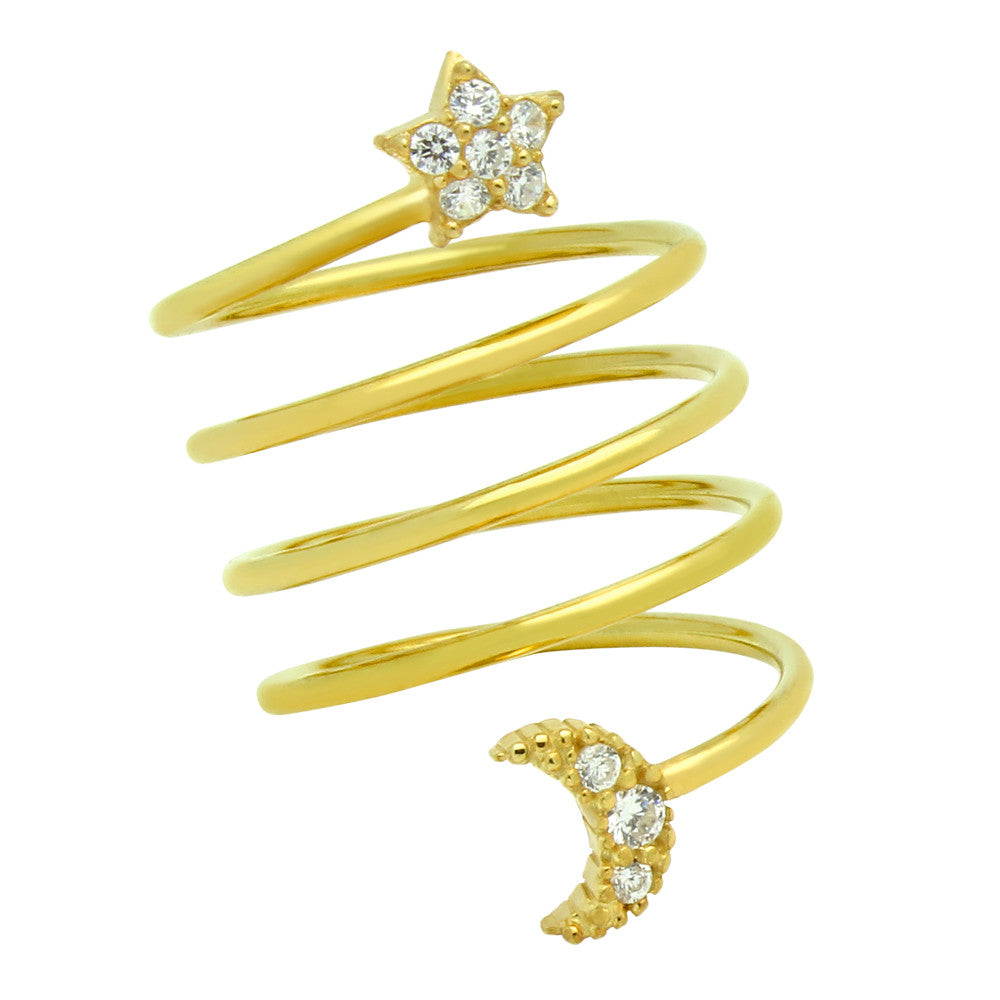 Star & Moon Spiral Ring - Jewelry Buzz Box  - 1