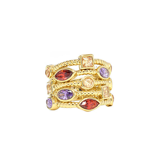 Stone Stacked Ring - Jewelry Buzz Box  - 2