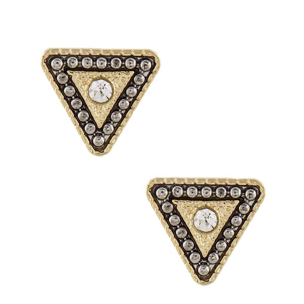 Triangle Stud Earrings - Jewelry Buzz Box  - 1