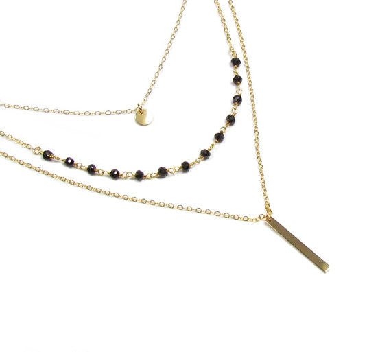 Set of 3 Layering Necklaces- Tiny Polished Disc Necklace, Beaded Gemstone Necklace and Vertical Polished Bar Necklace