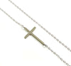 14K Small Sideways Cross Necklace