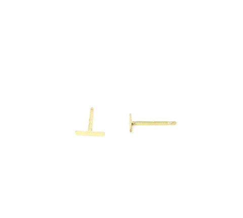 14K Solid Gold Tiny Bar Staple Post Earrings